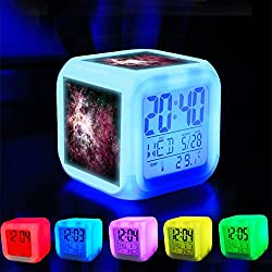 Alarm Clock 7 LED Color Changing Wake Up Bedroom with Data and Temperature Display (Changable Color) Customize the pattern-368.Cosmic, Nebula, Space, Universe, Astronomy, Galaxy