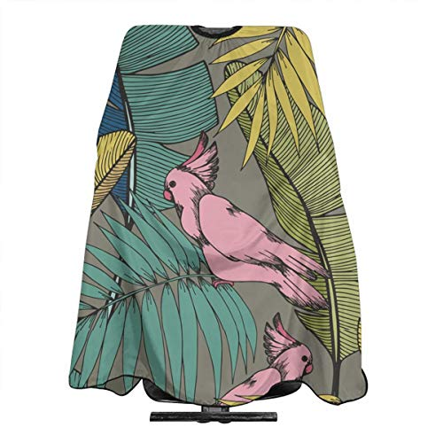 - Professional Barber Cape Tropical Birds Plants Parrots Salon Haircut Aprons Hair Styling Gown For Coloring Perming Hair Cutting Treatment Shampoo Chemical Proof Hairdresser 55