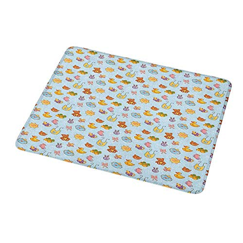 Customized Gaming Mouse Baby,Newborn Sun Teddy Bear Ribbon Feeder Pacifier Chick Kitty Cat Design,Pale Blue Cinnamon Apricot,Non-Slip Personalized Rectangle Mouse pad 9.8