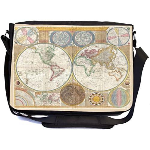 Rikki Knight Vintage World Map - Premium 1600D Messenger Bag - School Bag Ideal for School or College (UKBK Design)