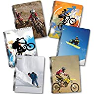 NEW GENERATION – Sport Extreme – Wire Bound Spiral Notebooks, Wide Ruled 1 Subject 70 Sheets, 8 x 10.5 inches, 3 Hole Punch Perforated Sheets – 6 Pack Great for School, Home, and Office