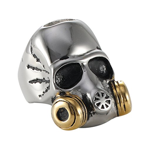 - Gas mask skull rings for men Fashion Punk Party Rings size8-14 (Gold (stainless steel), 8)