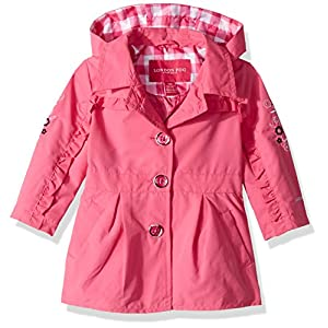 London Fog Baby Girls Lightweight Trench Coat, Dynamite Pink, 24M