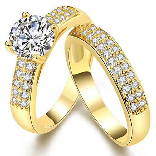 FENDINA Fashion Jewelry 18K Gold Plated Wedding Bridal Ring Set Princess Cut Simulated Diamond Eternity Promise Rings