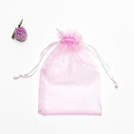 UNHO 100 Piezas Bolsas de Organza para Boda Bolsitas Transparentes para Joyas Regalos Recuerdos Caramelos Dulces Fiestas 10 x 12cm Color Rosa