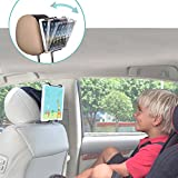 TFY Universal Car Headrest Mount Holder with Angle- Adjustable Holding Clamp for Tablets - iPad 2/3/4 - iPad Mini - iPad Air - iPad Pro - Samsung Galaxy Tab S2 - Tab A and More