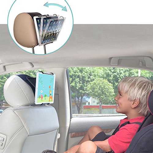 TFY Universal Car Headrest Mount Holder with Angle- Adjustable Holding Clamp for Tablets - iPad 2/3 / 4 - iPad Mini - iPad Air - iPad Pro - Samsung Galaxy Tab S2 - Tab A and More