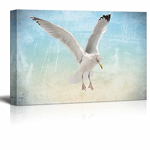 wall26 - Canvas Wall Art - A Flying Seagull on Abstract Seascape Background - Gallery Wrap Modern Home Decor | Ready to Hang - 12x18 inches