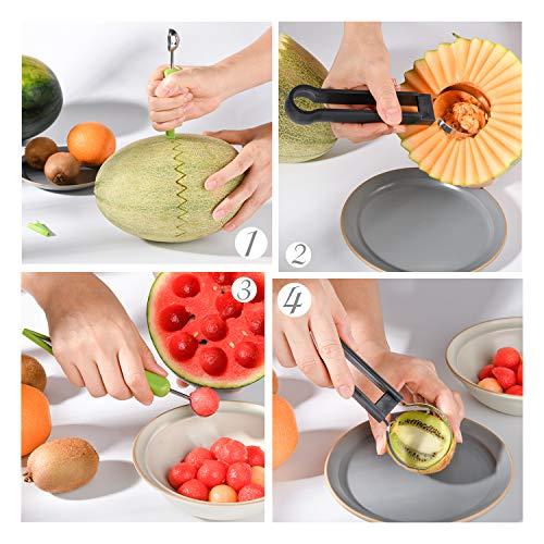Melon Baller Scoop Set, 4 In 1 Stainless Steel Fruit Tool Set Melon Baller Carving Knife Fruit Scooper Seed Remover For Fruit Slicer Dip Pulp Separator