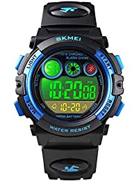 Boys Sport Digital Watch Kids Multifunction Outdoor Watches Waterproof Electronic Running Fashion Girls Watch with LED Alarm Clock Stopwatch Calendar Date - Blue