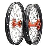 KTM 200 250 300 350 SX XC EXC MXC SX-F XC-W XCF-W Tusk IMPACT Complete Front/Rear Wheel Kit 21''/18'' Black Rim/Silver Spoke/Orange Hub