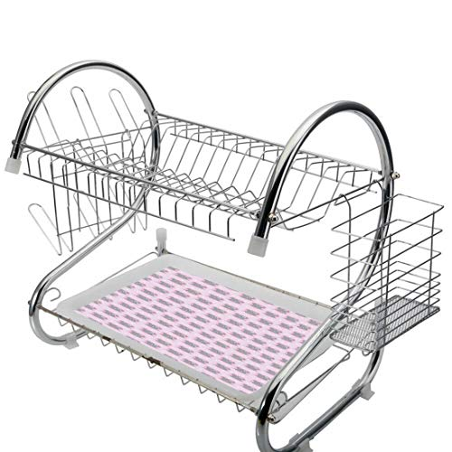 Stainless Steel 2-Tier Dish Drainer Rack Pink and Grey Kitchen Drying Drip Tray Cutlery Holder Little Mouse Characters with Hearts on Striped Backdrop Cartoon Lovers,Grey and Pink,Storage Space Saver (Pink Rack Dish Drainer)