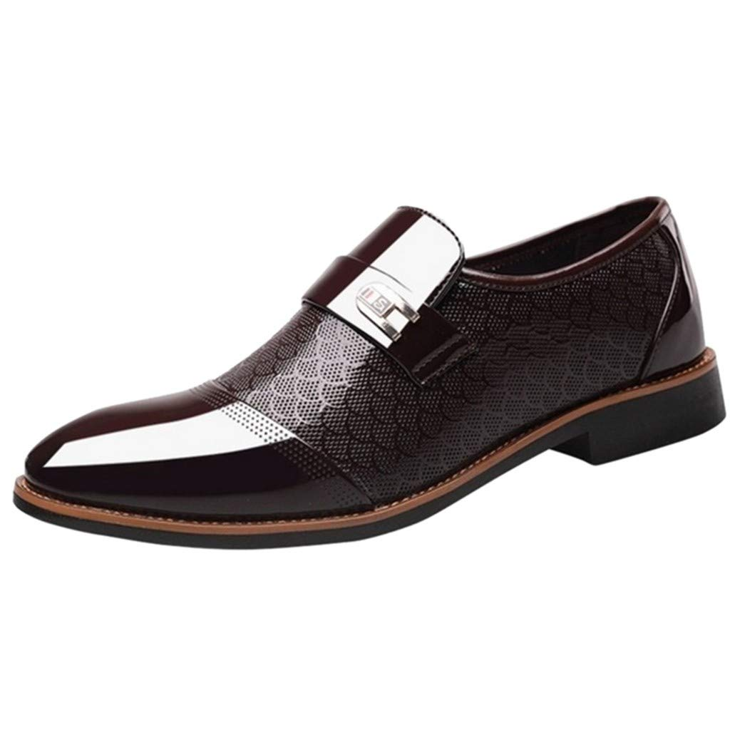 Corriee Mens Leather Oxford Shoes Male Pointed Toe Suit Shoes Flats Men's Business Shoes Dress Shoes for Wedding Brown