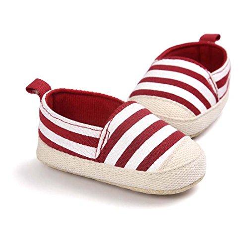 Zapatitos Primeros Pasos antideslizante Rayas Pantuflas Infantiles Zapatos suela suave de Bebé Rojo