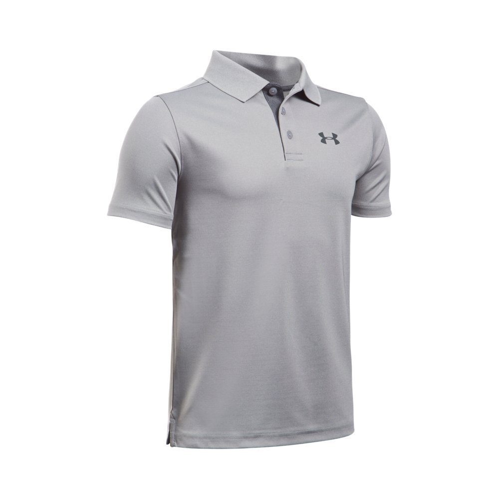 Under Armour Boys' Performance Polo, True Gray Heather /Rhino Gray, Youth X-Small