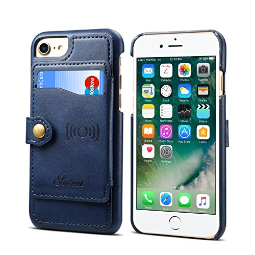Case Cove for Apple iPhone 8 7 6 4.7 inches,Blue Leather Credit Card Holder Thin Wallet Shell