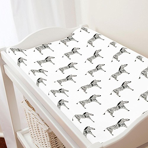 Carousel Designs Painted Zebra Changing Pad Cover - Organic 100% Cotton Change Pad Cover - Made in The USA