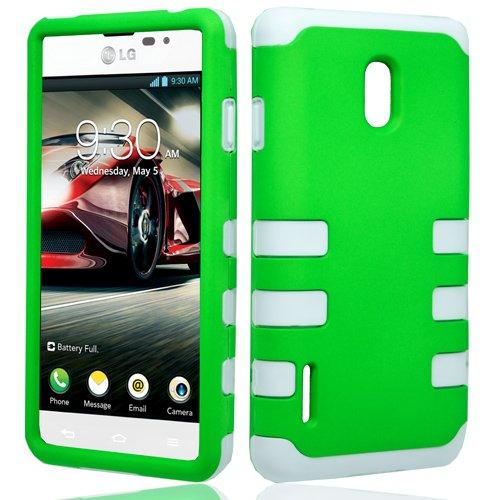 LF White Green Hybrid Rib Case Cover, Lf Stylus Pen, Lf Screen Wiper Bundle Accessory for For U.S. Cellular LG Optimus F7 US780