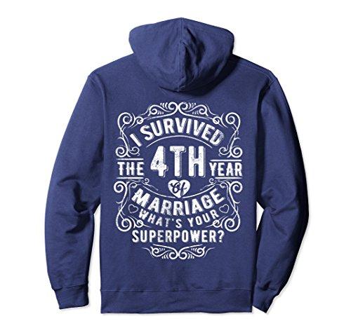 Unisex Anniversary Gift 4th - 4 years Wedding Marriage Premium Tee Small Navy