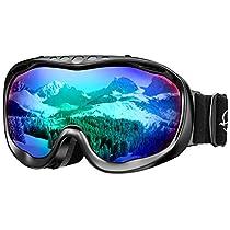 Enkeeo Ski Goggles Snowboard Goggles Dual Lens Anti-Fog 100% UV400 Protection Skiing Snowboarding Snowmobile Skating Winter Sports