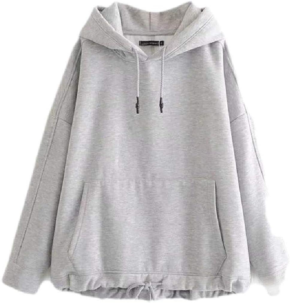 Smallwin Women Pullover Long Sleeve Zipper Casual Solid Color Sweatshirt