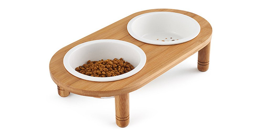 Be Good Dog Bowls Removable Ceramic Double Diners Set Elevated Bowls with Non-Skid No Spill Sturdy Wooden Stand Dog Bowls and Stand Set for Small Medium Dogs Cats Puppies
