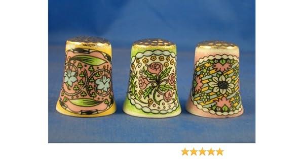 Porcelana China colección de dedales de oro de estilo Art Nouveau de tres: Amazon.es: Hogar