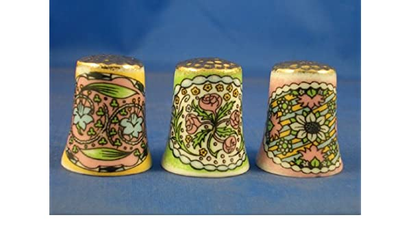 Make Offer Set of Three Gold Top Spring Flowers Birchcroft Thimbles