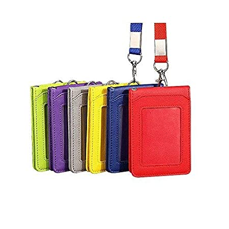 Zhi Jin 1Pc Leather ID Badge Holder Lanyard Credit Card Sleeves Protectors Organizer with 5 Card Slots Case Office School Purple