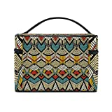 African Art Tribal Print Travel Makeup Toiletry Organizer Case Cosmetic Bag
