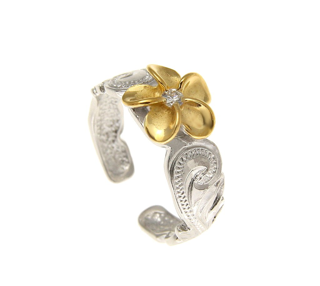 925 sterling silver rhodium plated yellow gold plated Hawaiian plumeria cz scroll cut out edge toe ring by Arthur's Jewelry