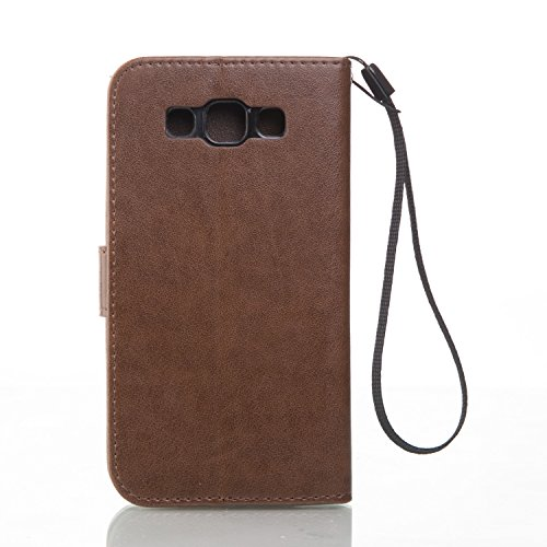 SRY-Funda móvil Samsung Funda Samsung Galaxy J3, estuche rígido retro de folio en forma de caja con correa para la mano Funda Protecitve Shell para Samsung Galaxy J3 ( Color : Red , Size : SAMSUNG J3  Brown
