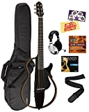 Yamaha SLG200S Steel String Silent Guitar Bundle with Gig Bag, Headphones, Austin Bazaar Instructional DVD, Strings, Strap, Picks, and Polishing Cloth - Trans Black