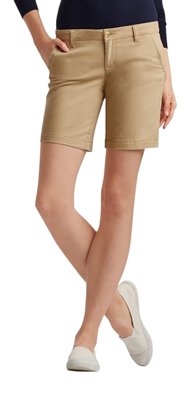 Aeropostale Women's Curvy Solid Bermuda Uniform Shorts