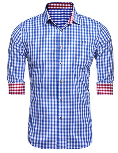 DAZZILYN Men's Plaid Shirts Slim Fit Dress Shirt Long Sleeve Button Down Shirt With Pockets