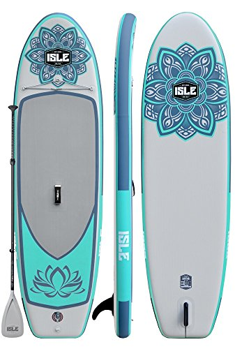ISLE 10' Lotus Airtech Inflatable Yoga Stand Up Paddle Board (6' Thick) Package | Includes Adjustable Travel Paddle, Carrying Bag, Pump (Aqua, 10')