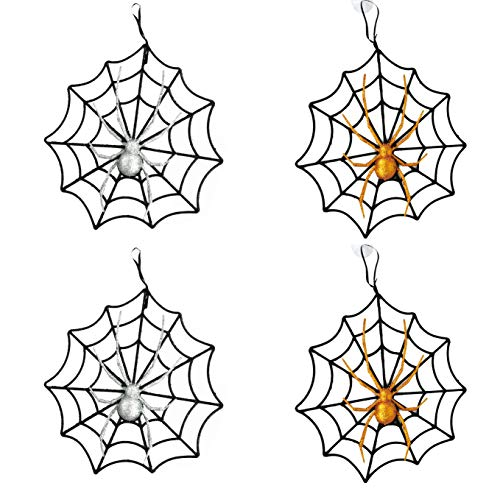 Black Duck Brand Set of 4 Halloween Webs with Glitter Spiders! Hanging 10
