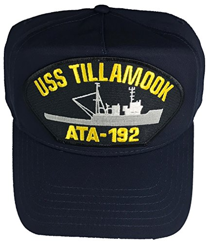 (USS TILLAMOOK ATA-192 Hat - NAVY BLUE - Veteran Owned Business)