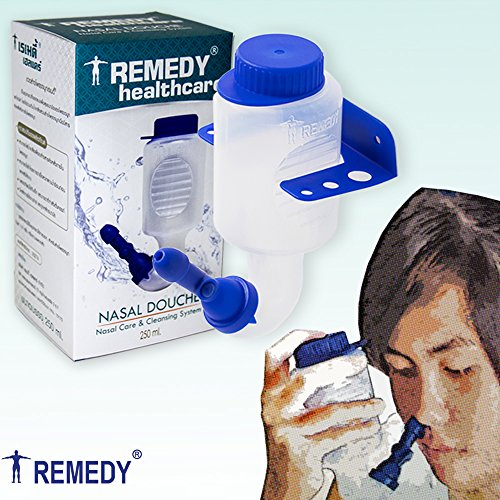 Remedy Nasal Douche, Nasal and Sinus Rinse Bottle for Daily Nasal Hygiene by Saline Nasal Irrigation 8oz. No Premix Included Controllable Flow for Nose care, Nose wash for fresh breath (Saline Solution Nasal Wash)