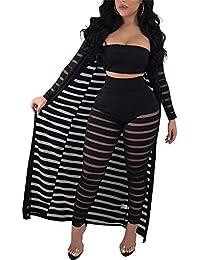 Women Sexy Tank Crop Top Long Kimono Cardigan Cover up...