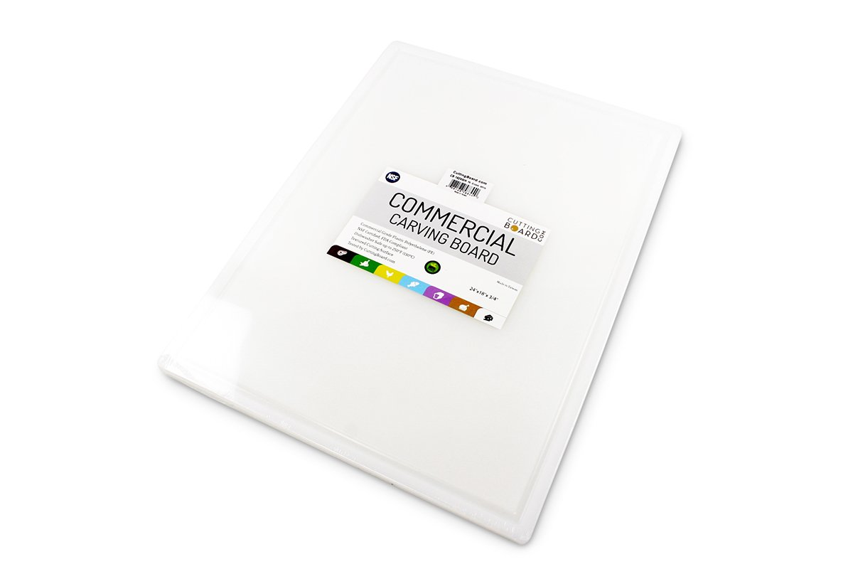 Commercial Plastic Carving Board with Groove, NSF Certified, HDPE Poly (24 x 18 x 0.75 Inch, White) by Thirteen Chefs (Image #2)