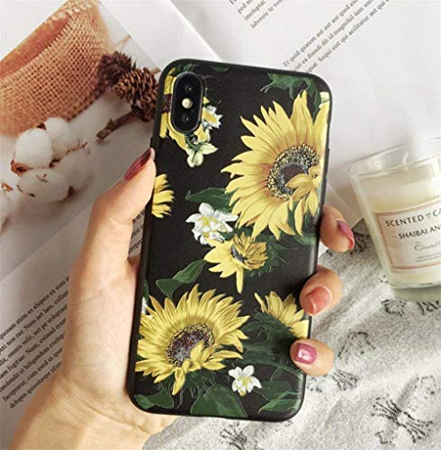 (iPhone X Soft Case,LuoMing 3D Emboss Beautiful Flower Pattern Slim fit Shock-Absorbing Soft Rubber Clear TPU Skin Cover Case for iPhone X 5.8inch(2017) (Sunflower+Black))