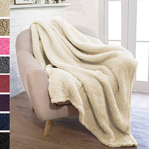 PAVILIA Plush Sherpa Throw Blanket for Couch Sofa   Fluffy Microfiber Fleece Throw   Soft, Fuzzy, Cozy, Lightweight   Solid Latte Cream Blanket   50 x 60 Inches