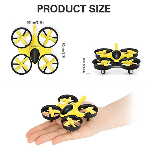 51CwAqvWJ6L GoolRC T36 Mini RC Quadcopter Drone 2.4G 4 Channel 6 Axis With 3D Flip Headless Mode One Key Return Nano Copters RTF Mode 2 With Bonus Battery(Yellow)