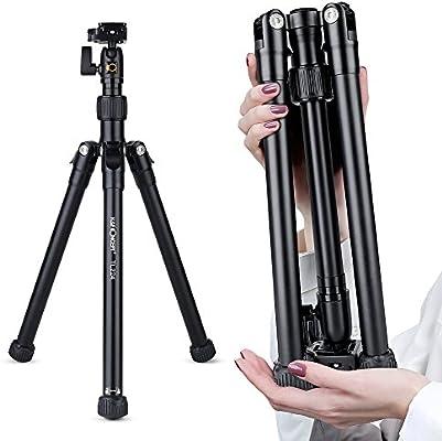 K&F Concept TL224 Trípode Cámara Réflex Viaje para iPhone Sumsung Huawei Xiaomi Teléfono y Gopro Trípode con Rótula de Bola Placa Rápida Liberación para Canon Nikon Sony Pentax K-1 Fujifilm Olympus: Amazon.es: