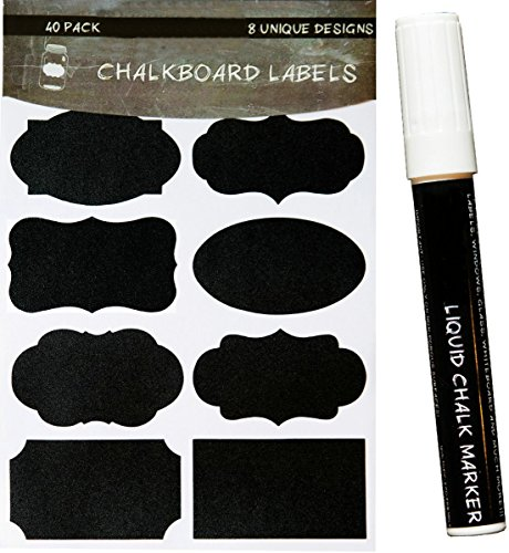 Zorpia® Chalkboard Labels, Premium Waterproof Peel and Stick for Jars, Pantries, Craft Rooms Unique Chalkboard Labels with Liquid Chalk Marker - Premium Stickers for Jars