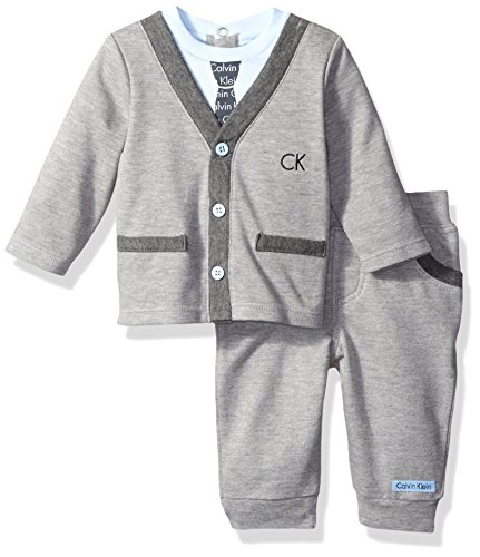 Calvin Klein Baby Cardigan with Pants Set, Gray, 0/3 Months