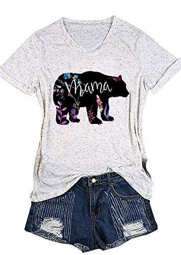 Women's Mama Bear Floral Printed Short Sleeve V-Neck Casual T-Shirt Blouse (S, Black) Black Bear Print T-shirt