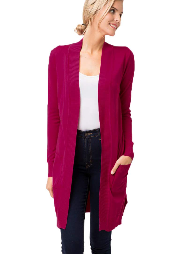 JNTOP Women's Long Sleeve Pocket Open Front Knit Cardigan Magenta Medium by JNTOP (Image #1)