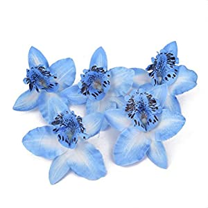 Tinksky 20pcs 8cm Artificial Silk Orchid Dendrobium Flower Heads Sew on Wedding Dresses Valentine's Day Wedding Favors (Blue) 86